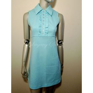 Vintage Light Turquoise Tuxedo Front Mini Dress